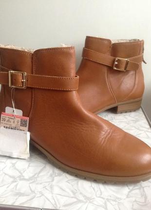 Кожаные зимние сапоги ботинки pull&bear  39