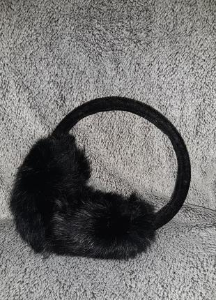 Черные меховые ушки , мех натуральный кролик