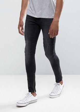 Чёрные мужские джинсы скинни с молниями снизу, зауженные эластичные штаны слим