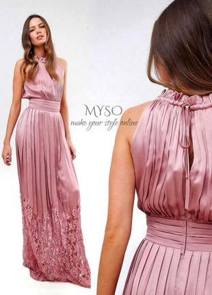 💫новогодние скидки 💫вечернее плиссерованое платье цвета розовое золото