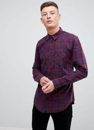 Стильная мужская рубашка с карманом в клетку, хлопковая, байковая на пуговицах
