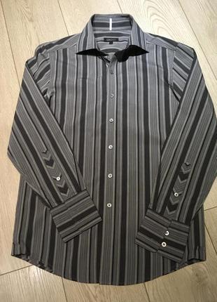 Серая хлопковая рубашка в полоску dkny размер s