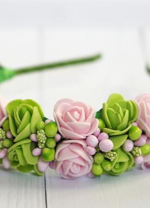 Венок, веночек, обруч, ободок из цветов, ободок ручной работы