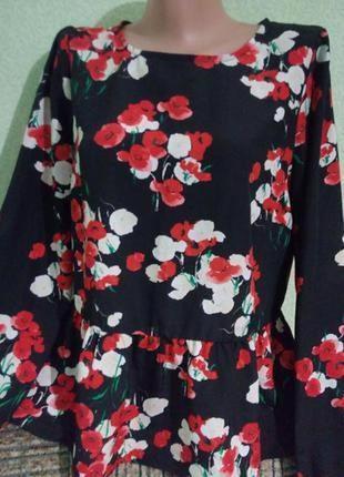 Очаровательная блуза блузка 48-50,14-16 uk блуза с баской f&f