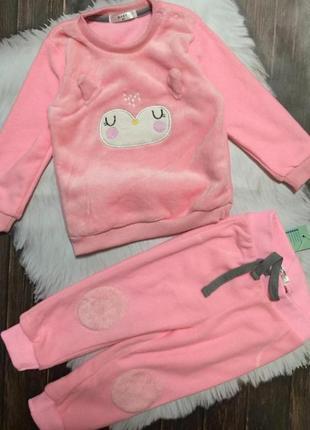 Плюшевый костюм. на 80 рост розовый теплый