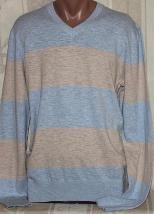 Джемпер свитер кофта полоска голубая с бежевым gap l /50