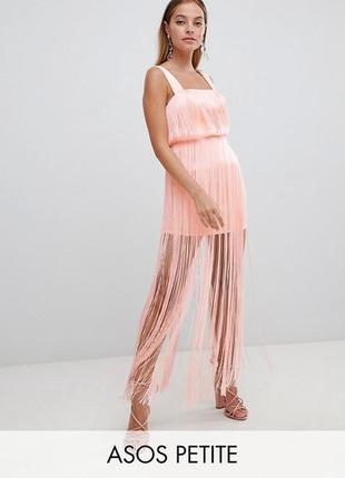 Неопреновое платье с бахромой asos,р-р 8