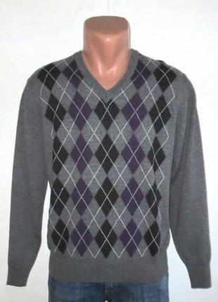 Стильный полушерстяной свитер в ромбы от armas размер: 50- m, l