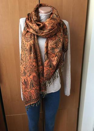 Брендовый большой теплый шарф-палантин pashmina, двухсторонний
