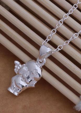 Новый кулон серебро 925поробы подвеска ангел цепочка в подарок