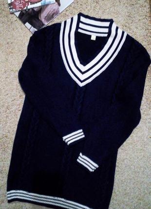 Удлиненный свитер/туника плотной вязки в косы/ 100%хлопок m-l