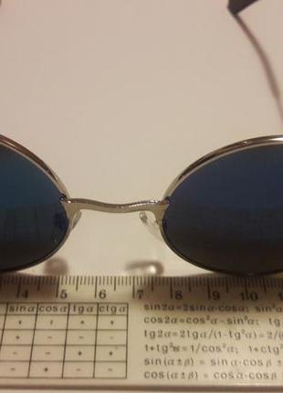 Распродажа молодежные стильные солнцезащитные зеркальные синие круглые очки7 фото