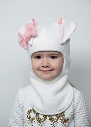 Шапка зимняя теплая шапочка зайка на девочку