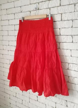 👑красная пышная юбка миди в стиле ретро👑юбка с воланами c&a