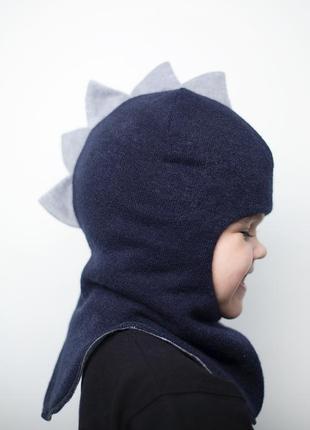 Шапка шлем зимняя теплая дино для мальчика