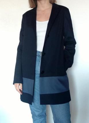 Синий удлинённый пиджак - тренч mos mosh