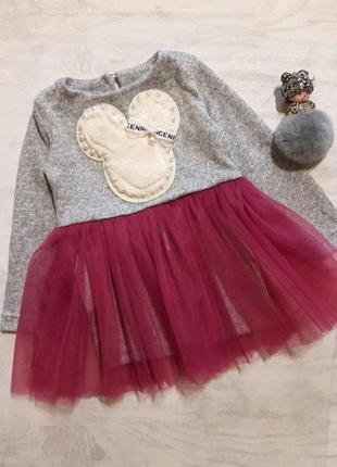 Теплое ангорове платье с фатиновой юбкой, размеры 98-122