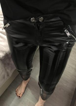 Брюки штаны кожа zara