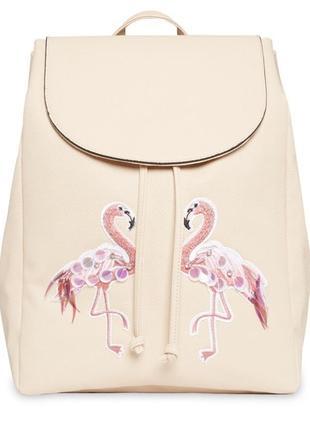 Нюдовый рюкзак с фламинго 🌸🔥