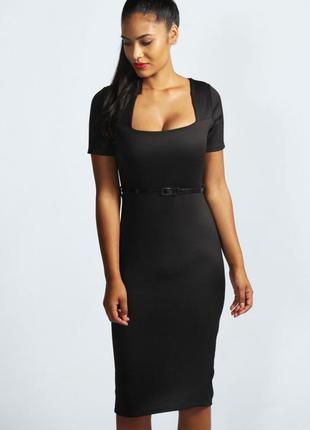Платье черное футляр карандаш миди по фигуре фирменное классическое атласное