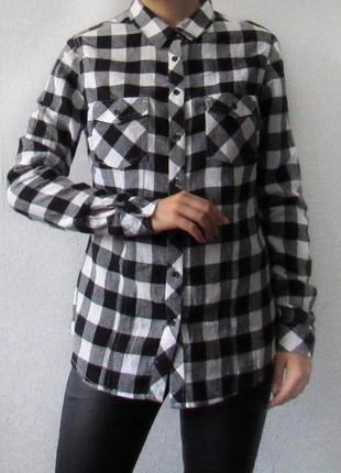 Стильная теплая рубашка в клетку натуральная ткань forever 21