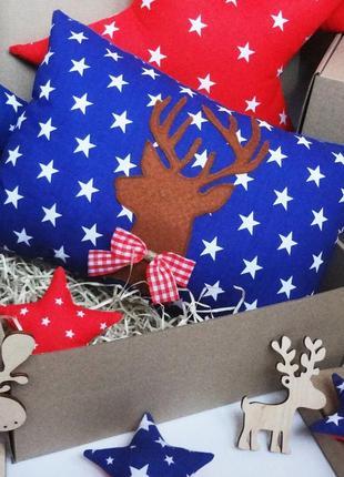 Декоративная новогодняя подушка, подарок на новый год, подушка с оленем