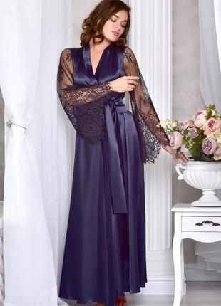 Шикарный длинный халат с кружевным рукавом. размеры от xs до xl