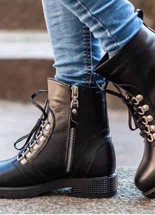 Очень стильные ботинки с мехом!натуральная кожа!