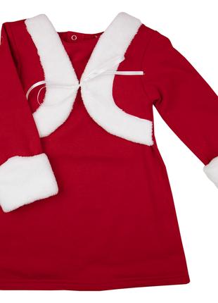 86-92 см: тёплое новогоднее платье с махровой отделкой и имитацией болеро