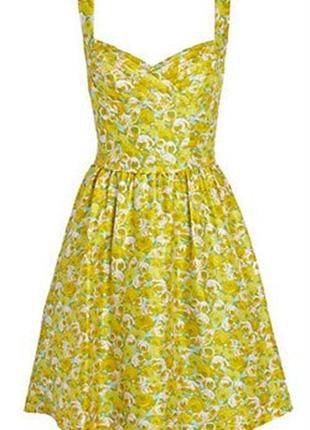 Невероятное шёлковое😍винтажное платье,принт жёлтые розы от дорогого бренда oasis,m-s1
