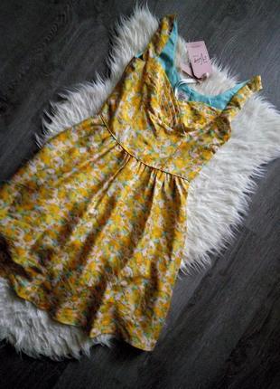 Невероятное шёлковое😍винтажное платье,принт жёлтые розы от дорогого бренда oasis,m-s2