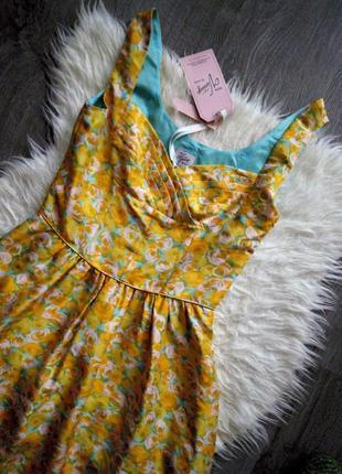 Невероятное шёлковое😍винтажное платье,принт жёлтые розы от дорогого бренда oasis,m-s3