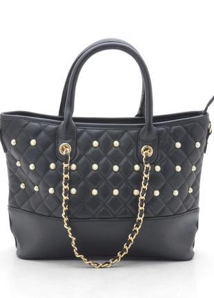 Женская стеганая сумка с длинной ручкой 128 черная