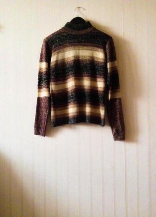 Гольф свитер люрекс теплый оверсайз трендовый зимний в полочоску коричневый черный1