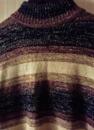 Гольф свитер люрекс теплый оверсайз трендовый зимний в полочоску коричневый черный2