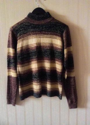 Гольф свитер люрекс теплый оверсайз трендовый зимний в полочоску коричневый черный3