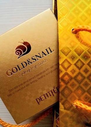 Гидрогелевые патчи для глаз petitfee gold and snail золото с муцином улитки, 60 шт.4 фото