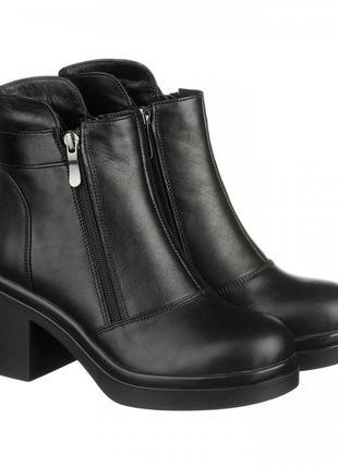 Красивые элегантные модные женские зимние кожаные ботинки на широком каблуке 37-415