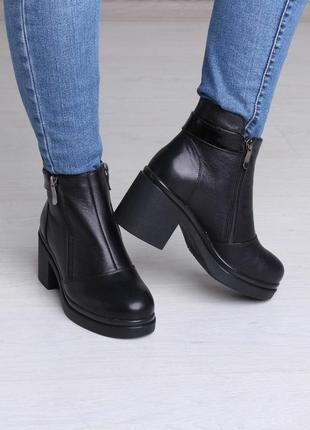 Красивые элегантные модные женские зимние кожаные ботинки на широком каблуке 37-411