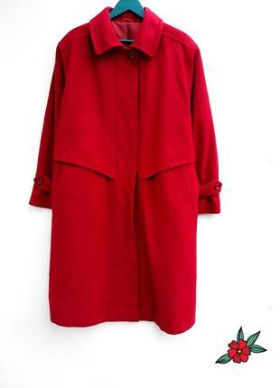 Шерстяное пальто миди с кашемиром большой размер батал стильное пальто демисезон