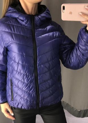 Фиолетовая деми куртка amisu курточка с капюшоном есть размеры1