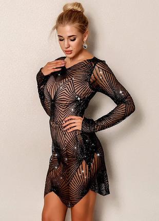 Красивое блестящее платье с боди1