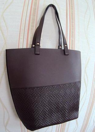 Новая коричневая сумка-шоппер с ручками на плечо, koton
