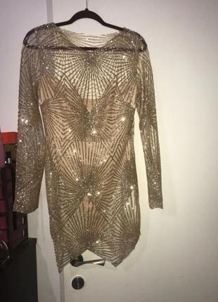 Красивое блестящее платье с боди2