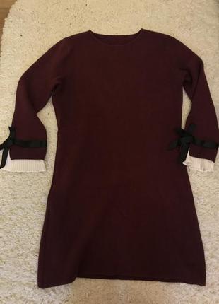 Платье тёплое марсала1