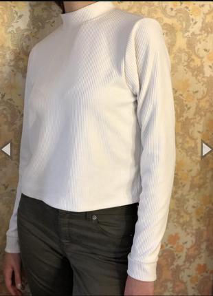 Белый гольф в рубчик,кофта,водолазка,свитер1