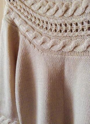 Платье свитер вязанное теплое бесплатная доставка бежевое трендовое оверсайз2 фото