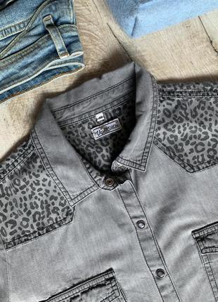 Хлопковая рубашка на кнопках блуза с леопардовым принтом5