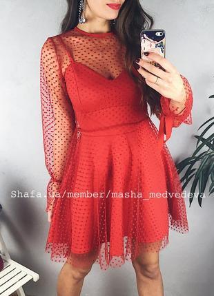 ❤️невероятное двойное прозрачное нарядное платье с сеточкой пышной юбкой1 фото