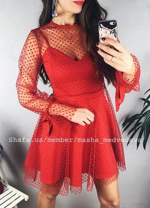 ❤️невероятное двойное прозрачное нарядное платье с сеточкой пышной юбкой2 фото